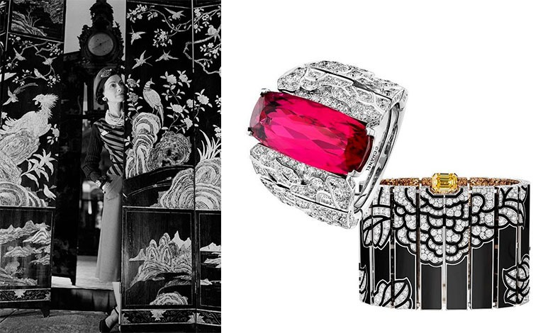 Η διάσημη σχεδιάστρια φωτογραφημένη μπροστά από τα αγαπημένα της παραβάν // Δαχτυλίδι από λευκόχρυσο, διαμάντια και ρουμπίνι και βραχιόλι από μαύρη λάκα, χρυσό και διαμάντια από την πολύτιμη συλλογή The Coromandel Legend