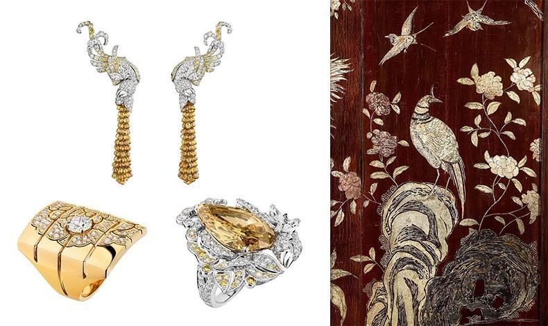 Σκουλαρίκια από χρυσό και λευκά και κίτρινα διαμάντια // Δαχτυλίδι από χρυσό και διαμάντια // Δαχτυλίδι με χρυσό, διαμάντια και κίτρινο διαμάντι // Λεπτομέρεια από ένα από τα πτυσσόμενα παραβάν της κινεζικής τεχνικής Coromandel στο διαμέρισμα της οδού Cambon, αριθμός 31