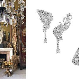 Το τζάκι με το παραβάν και τον εντυπωσιακό πολυέλαιο στο διαμέρισμα της Coco Chanel // Σκουλαρίκια από λευκόχρυσο και διαμάντια με διαφορετικά μοτίβα και δαχτυλίδι από λευκόχρυσο και διαμάντια της συλλογής The Coromandel Legend