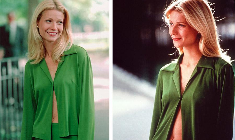 Η Γκουίνεθ Πάλτροου με το πράσινο σετ της Donna Karan ως Estella στην ταινία «Μεγάλες Προσδοκίες» το 1998