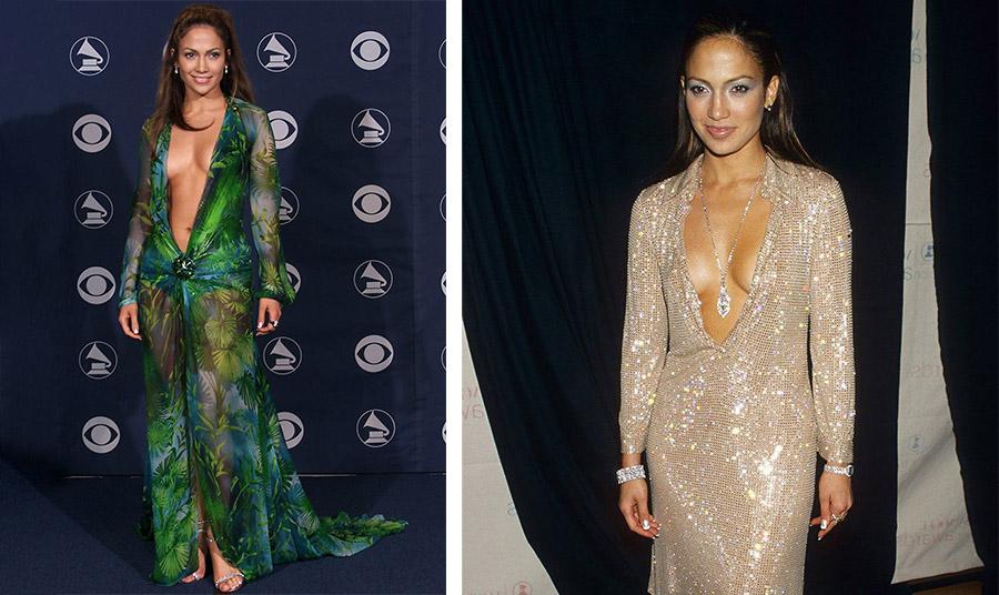 Η Τζένιφερ Λόπεζ  με το φόρεμα Versace και απαστράπτουσα στη δεκαετία του '90