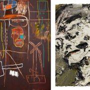 Ακρυλικό και λάδι σε καμβά του Jean-Michel Basquiat «Air Power», 1984 // Ελαιογραφία του Frank Auerbach, «Head of Gerda Boehm», 1965