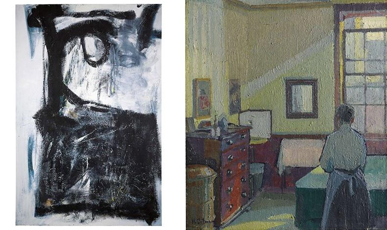 Ελαιογραφία του Peter Lanyon «Witness», 1961 // Ελαιογραφία του Harold Gilman, «Interior (Mrs Mounter)», 1917
