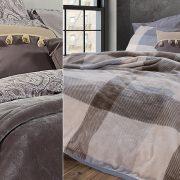 Απαλές και ζεστές κουβέρτες με βελούδινη υφή σε υπέροχα σχέδια και χρώματα ντύνουν το κρεβάτι σας και «χαϊδεύουν» τα όνειρά σας! Κουβέρτα σε γκρι χρώμα (αλλά και πολλά ακόμη) Loft (αριστερά) και καρό Rickon (δεξιά), ΝΕF NEF HOMEWEAR