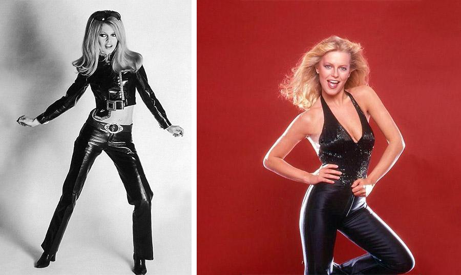 Η Μπριζίτ Μπαρντό και η Τσέριλ Λαντ τη δεκαετία του '70 σέξι με μαύρα δερμάτινα παντελόνια