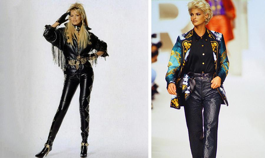 Η Κλόντια Σίφερ με μαύρα δερμάτινα από επίδειξη του Versace στα 90s // Η Λίντα Εβαγκελίστα με μαύρο δερμάτινο παντελόνι στην επίδειξη του Hermes το 1991