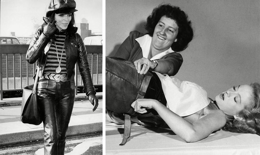 Η Evelyn Keyes προσπαθώντας να φορέσει το στενό δερμάτινο παντελόνι της για την ταινία Τhe Desperadoes το 1940 // Η Τζόαν Κόλινς με απίστευτο λουκ και δέρμα από πάνω έως κάτω τη δεκαετία του '60