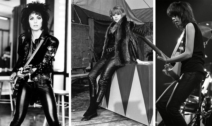 Τζόαν Τζετ, Μαριάν Φέιθφουλ και Κρίσι Χάιντ με μαύρα δερμάτινα παντελόνια. Οι γυναίκες ροκ σταρ στη δεκαετία του '70 το υιοθετούν και οι οπαδοί… ακολουθούν