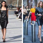 Κομψό μαύρο δερμάτινο φόρεμα από την κολεξιόν φθινόπωρο 2019-χειμώνας 2020, Bottega Veneta // Σε άψογο ροκ-μιλιτέρ ύφος που «σπάει» με ψηλοτάκουνα πέδιλα