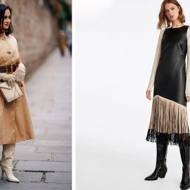 Ένα κομψό δερμάτινο φόρεμα σε γήινους τόνους συνδυασμένο με φαρδιά ζώνη και κρεμ μπότες και τσάντα είναι κατάλληλο για το γραφείο ή οποιαδήποτε εμφάνισή σας // Δερμάτινο φόρεμα με κρόσσια (Uterque) με ένα λεπτό πουλόβερ και χαμηλοτάκουνες μπότες είναι μία ωραία επιλογή για κάθε στιγμή