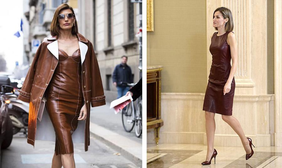 Κομψό και σέξι λουκ ταυτόχρονα! Το σοκολά χρώμα είναι πολύ της μόδας! Αντίστοιχα δοκιμάστε μία πιο ασφαλή επιλογή με ψηλοτάκουνες γόβες