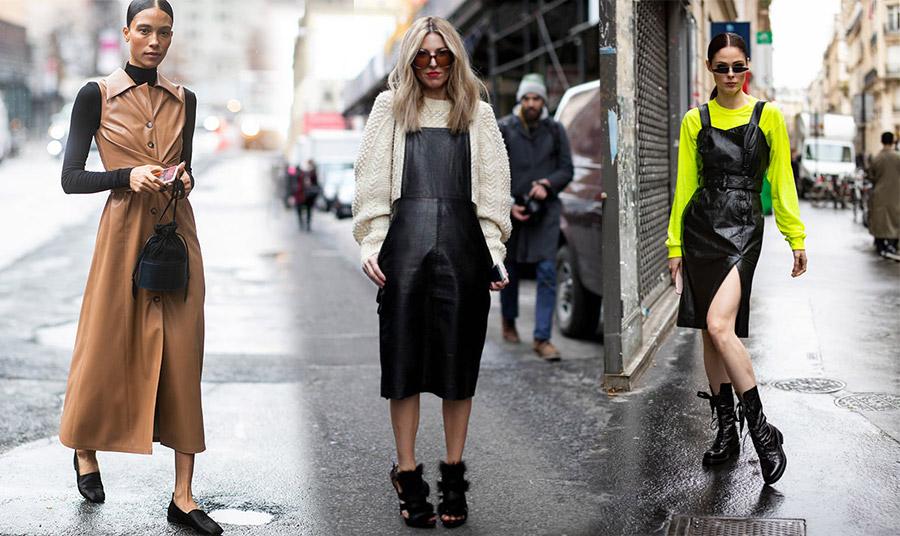 Φορέστε ένα μακρύ δερμάτινο φόρεμα με φλατ παπούτσια και το ζιβάγκο σας. Σε καμηλό χρώμα μάλιστα κάνει τη διαφορά // Ένα υπερμέγεθες κρεμ-λευκό πλεκτό πουλόβερ εξαιρετικά φορεμένο με μαύρο δερμάτινο φόρεμα // Αμάνικο σε συνδυασμό με ένα φλούο πουλοβεράκι και στρατιωτικά μποτίνια