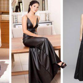 Και φυσικά για το βράδυ! Τι πιο εντυπωσιακό από ένα μακρύ δερμάτινο φόρεμα; Στην απόχρωση της λεβάντας (Chanel) με ζώνη στη μέση θα τραβήξει τα βλέμματα! // Σε στιλ slip dress και μαύρα πέδιλα // Ένα μαύρο δερμάτινο φόρεμα-τουαλέτα στολισμένο με παγιέτες, Tony Ward