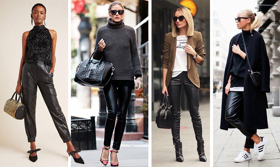 Ένα μαύρο δερμάτινο παντελόνι για όλες τις ώρες! Ανάλογα με τον συνδυασμό, είναι κατάλληλο για το πρωί, για το γραφείο ή για το βράδυ