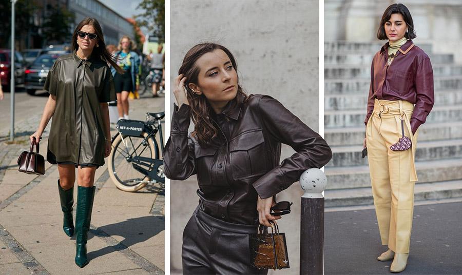 Ένα φαρδύ και μακρύ δερμάτινο πουκάμισο μπορεί να φορεθεί πάνω από ένα μίνι φόρεμα για μία πολύ ενδιαφέρουσα εμφάνιση. Συνδυάστε το με ψηλές μπότες! // Σκούρο μοβ σε total leather στιλ // Μοβ και μπεζ, ένας συνδυασμός και για την άνοιξη