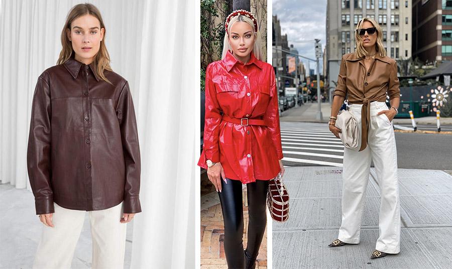 Φορέστε το δερμάτινο πουκάμισο κουμπωμένο μέχρι πάνω με ένα απλό, ίσιο παντελόνι. Το σκούρο καφέ με το κρεμ είναι τέλειο! // Ένα λαμπερό κόκκινο δερμάτινο πουκάμισο κάνει τη διαφορά // Αν η δερματίνη είναι μαλακή, φορέστε το πουκάμισό σας πάνω από ένα φαρδύ παντελόνι δεμένο στη μέση