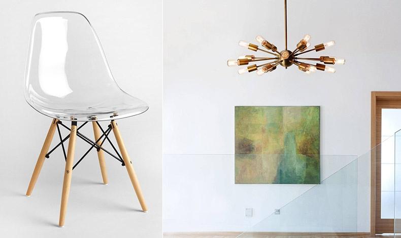Η καρέκλα Eiffel από πλαστικό ενισχυμένο με φαϊμπεργκλάς με τα χαρακτηριστικά ξύλινα πόδια είναι κατάλληλη για να αναδείξει μικρούς χώρους // Το φωτιστικό Sputnik πήρε το όνομά του από τον πρώτο δορυφόρο που εκτόξευσε στο διάστημα το 1957 η Σοβιετική Ένωση