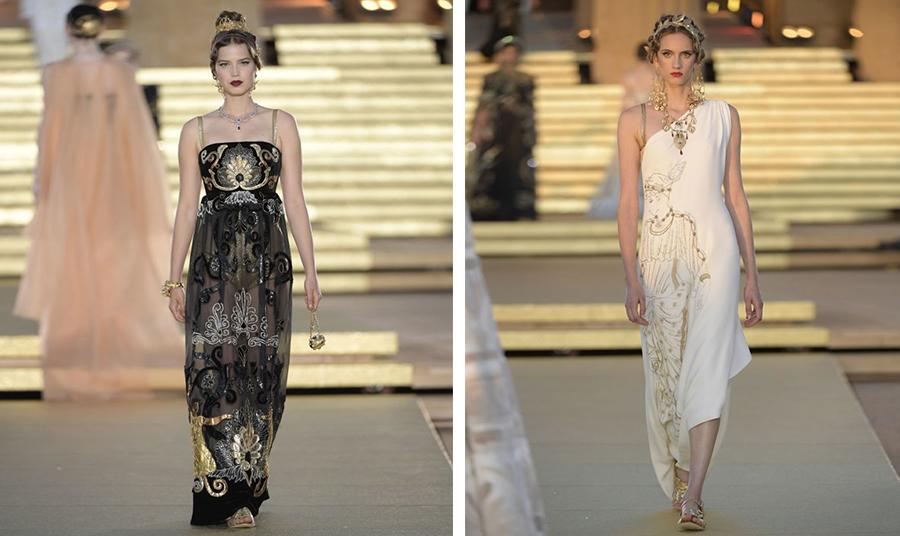 Φορέματα χρυσοποίκιλτα και με αναπαραστάσεις αρχαίων αγαλμάτων συνδυασμένα όλα με ίσια σανδάλια σε όλη τη διάρκεια του σόου