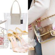 Διάφανο πέδιλο, Yeezy // Shopping bag, Kara // Βραδινό τσαντάκι, Valentino // Πέδιλα με διάφανο τακούνι και λουλούδια και χρυσές λεπτομέρειες, Miu Miu // Διαφάνεια με χρυσό για την τσάντα, Chanel