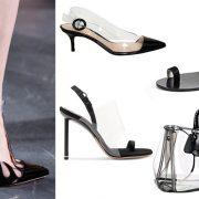 Όλα σε διάφανο-μαύρο! Παπούτσι με διάφανο λουράκι, Mugler // Χαμηλοτάκουνο, Gianvitto Rossi // Σχεδόν ίσιο, Tibi // Ψηλοτάκουνο, Αlexander Wang // Τσάντα, Prada