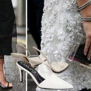 Μποτάκια με διαφάνεια που φοριούνται και για βράδυ // Λευκά mules, Calvin Klein // Διάφανο τσαντάκι, Perspex