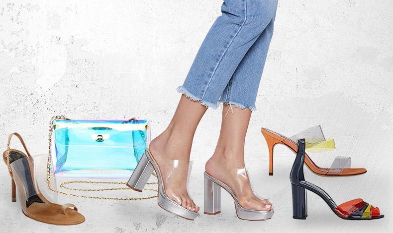 Πέδιλο από δέρμα και βινύλ, Alexander Wang // Γαλάζια τσάντα, Charlotte Russe // Τσόκαρα ασημί, Nasty Gal // Πορτοκαλί και διαφάνεια για το παπούτσι, Manolo Blahnik // Διαφάνεια μπλε, πορτοκαλί κόκκινο και κίτρινο, Μarskin