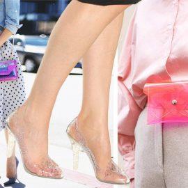 Διάφανη τσάντα με μοβ και χρυσή αλυσίδα, Saint Laurent // Παπούτσια, Cinderella, Dolce&Gabbana // Διάφανο τσαντάκι μέσης σε ροζ-πορτοκαλί, Frankie