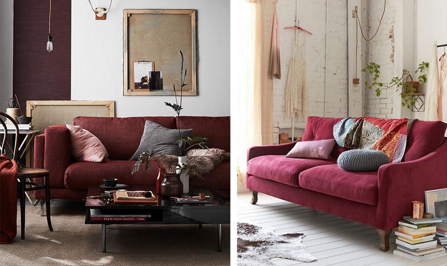 Ένας καναπές στην βαθιά ή πιο φωτεινή απόχρωση αυτού του κόκκινου γίνεται το κεντρικό στοιχείο της διακόσμησης. Αν μάλιστα είναι από βελούδο, τότε αποπνέει πολυτέλεια και κομψότητα!
