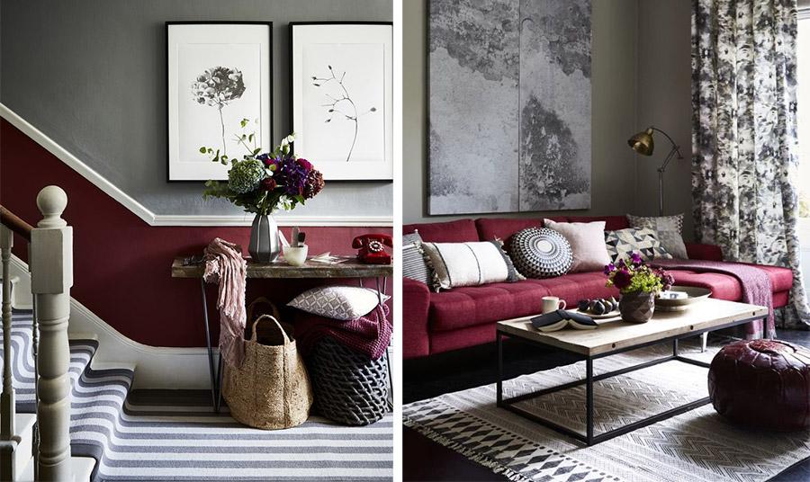 Αυτό το χρώμα ταιριάζει καλά με το κλασικό γκρι. Χρησιμοποιήστε το είτε σε μία διχρωμία στους τοίχους ή βάλτε έναν εντυπωσιακό κόκκινο καναπέ για να φωτίσετε ένα μίνιμαλ ή βιομηχανικού στιλ χώρο