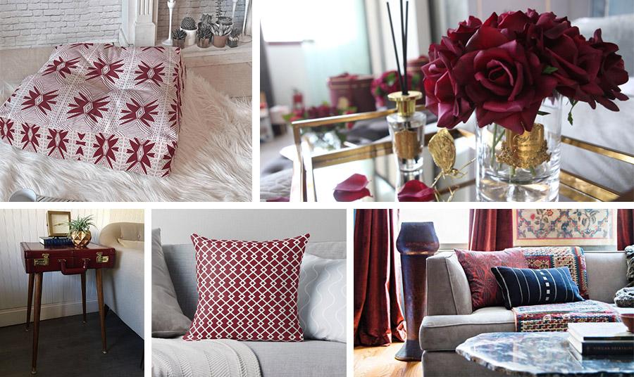 Ιδιαίτερα όμορφα, τα διακοσμητικά στοιχεία: Μαξιλάρες, μαξιλάρια, ένα μικρό έπιπλο, ένα φωτιστικό, στο κόκκινο της Βουργουνδίας είναι ένας τέλειος τρόπος για τη διακόσμησή σας. Ο συνδυασμός μάλιστα με χρυσές πινελιές δίνουν και έναν αέρα αριστοκρατικότητας και φινέτσας