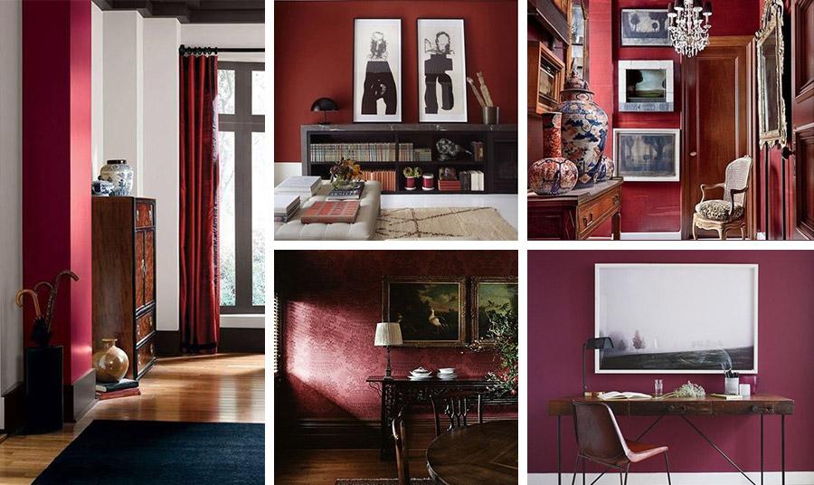 Οι τοίχοι στο κόκκινο της Βουργουνδίας είναι μια τολμηρή και πρωτότυπη λύση. Βάψτε έναν τοίχο σε κάποιο δωμάτιο και συνδυάστε με κρεμ ή λευκές αποχρώσεις στους υπόλοιπους τοίχους. Ταιριάζει σε κλασικό αλλά και σε μοντέρνο περιβάλλον