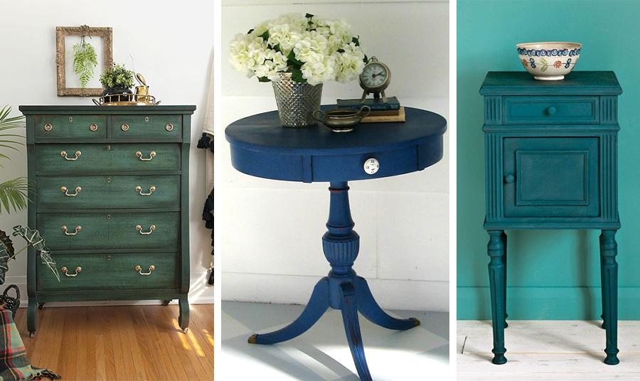 Μοντέρνες ιδέες για να βάψετε ξύλινα έπιπλα είναι το λαδί και οι αποχρώσεις του μπλε