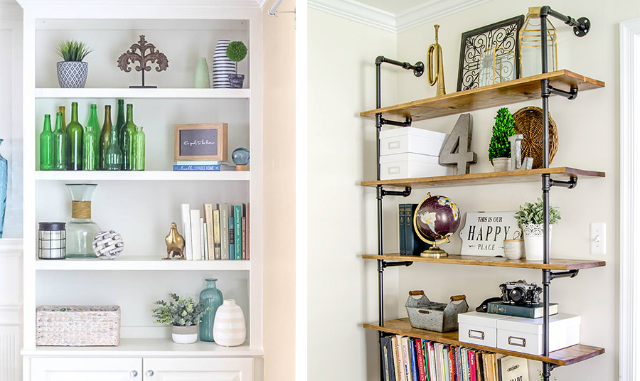 Βιβλία, διάφορα διακοσμητικά αντικείμενα, κουτιά ή γυάλινα μπουκάλια μπορούν να βρουν τη θέση τους στα ράφια μας δίνοντας ένα όμορφο αποτέλεσμα