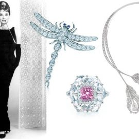Breakfast at Tiffany's και Όντρεϊ Χέμπμορν // Καρφίτσα με διαμάντια, Tiffany's // Δαχτυλίδι με σπάνιο ροζ διαμάντι, Tiffany's