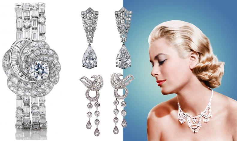 Η ομορφιά και η λάμψη των διαμαντιών στολίζουν τον λαιμό της // Βραχιόλι από την υψηλή κοσμηματοποιία του οίκου De Beers// Σκουλαρίκια από τη συλλογή του οίκου Cartier // Μακριά σκουλαρίκια από έναν ακόμη μεγάλο οίκο κοσμημάτων, Van Cleef & Arpels