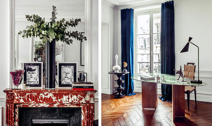 Το υπέροχο τζάκι από μάρμαρο με κόκκινα νερά κυριαρχεί στο σαλόνι // Στον χώρο του γραφείου δίπλα στο σαλόνι με ένα υπέροχο έπιπλο γραφείου από πράσινο μάρμαρο με πόδια από μαρκετερί
