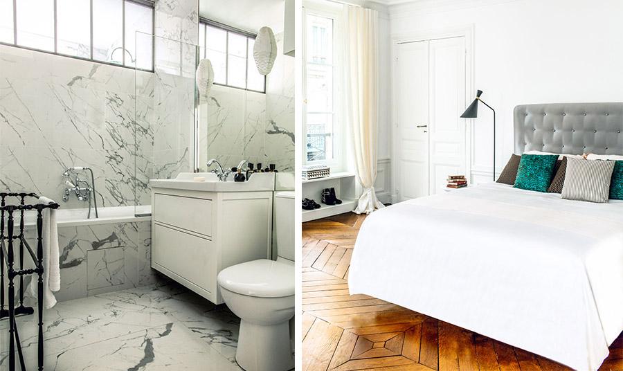 Το μπάνιο ανακαινίσθηκε πλήρως με λευκά μάρμαρα Carrara // Το λευκό στην κρεβατοκάμαρα δημιουργεί μία διάθεση ηρεμίας. Το κεφαλάρι του κρεβατιού είναι δημιουργία του οίκου Henryot & Cie's και είχε σχεδιαστεί για το ξενοδοχείο Ritz του Παρισιού