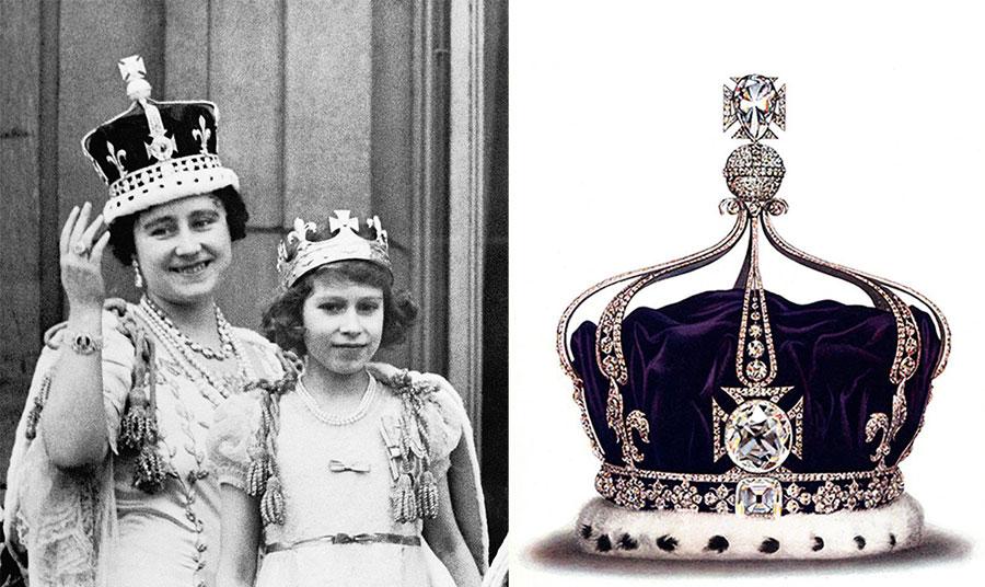 Η μητέρα της σημερινής βασίλισσας της Αγγλίας Ελισάβετ, με την ίδια ως νεαρή τότε, φορά το διάσημο στέμμα κατά την τελετή ενθρόνισης του Γεωργίου VI το 1937 // Με βάρος 106 καράτια, το «Koh-i-Noor» ήταν κάποτε το μεγαλύτερο διαμάντι του κόσμου, και σήμερα ανήκει στο Βρετανικό Στέμμα