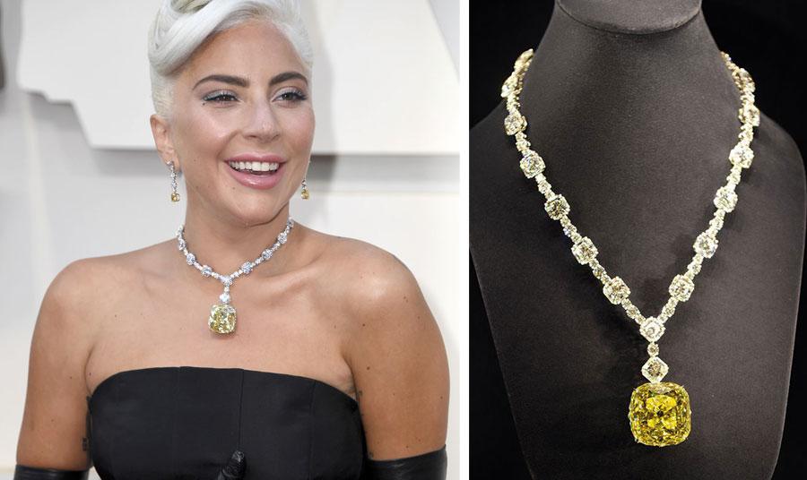 Μετά την Όντρεϊ Χέπμπορν που φόρεσε το διάσημο κίτρινο διαμάντι για την προώθηση της ταινίας Breakfast at Tiffany's το 1961, η επόμενη που στόλισε τον λαιμό της είναι η Lady Gaga για την απονομή των Όσκαρ του 2019 όπου βραβεύτηκε για το τραγούδι