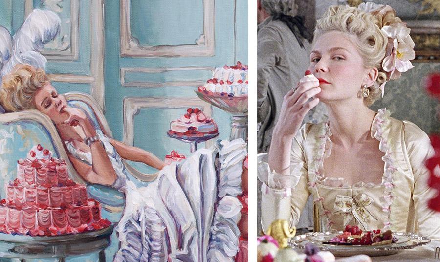 Πίνακας με τα πλούσια γλυκά της βασίλισσας // H Kirsten Dunst τρώγοντας… ταρτάκια όπως και η Μαρία Αντουάνετα στις Βερσαλλίες