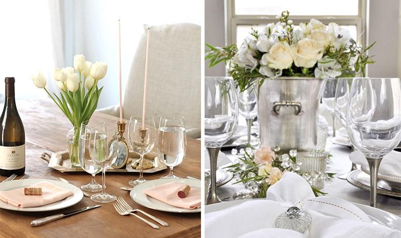 Λευκές τουλίπες ή λευκά τριαντάφυλλα για το ντεκόρ του τραπεζιού, μία πινελιά από απαλό ροζ στα κεριά και τις πετσέτες ή απλά όλα αριστοκρατικά λευκά!