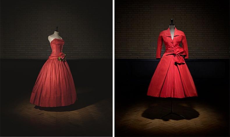 Fe?te joyeuse, Βραδινό φόρεμα, Υψηλή Ραπτική άνοιξη/ καλοκαίρι 1955, A Line, Photo © Laziz Hamani // E?carlate, Απογευματινό Φόρεμα, Υψηλή Ραπτική, φθινόπωρο/ χειμώνας 1955, Y Line, Φωτό © Laziz Hamani