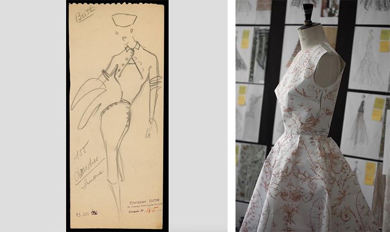 Σχέδιο του Christian Dior για το μοντέλο Londres, Υψηλή Ραπτική, φθινόπωρο/ χειμώνας 1950, © Christian Dior // Φόρεμα από χαρτί στο ατελιέ του Dior - δείγμα φορέματος από toile de jouy στη συλλογή της Maria Grazia Chiuri, Υψηλή Ραπτική φθινόπωρο/ χειμώνας 2018, Φωτό © Sophie Carre Dior He?ritage collection, Παρίσι.