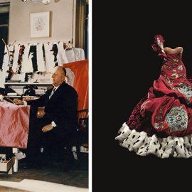 Ο Christian Dior με το μοντέλο Lucky, περίπου το 1955, Courtesy of Christian Dior // Δημιουργία του John Galliano, Υψηλή Ραπτική, φθινόπωρο/χειμώνας 2004, Φωτό © Laziz Hamani Dior He?ritage collection, Παρίσι