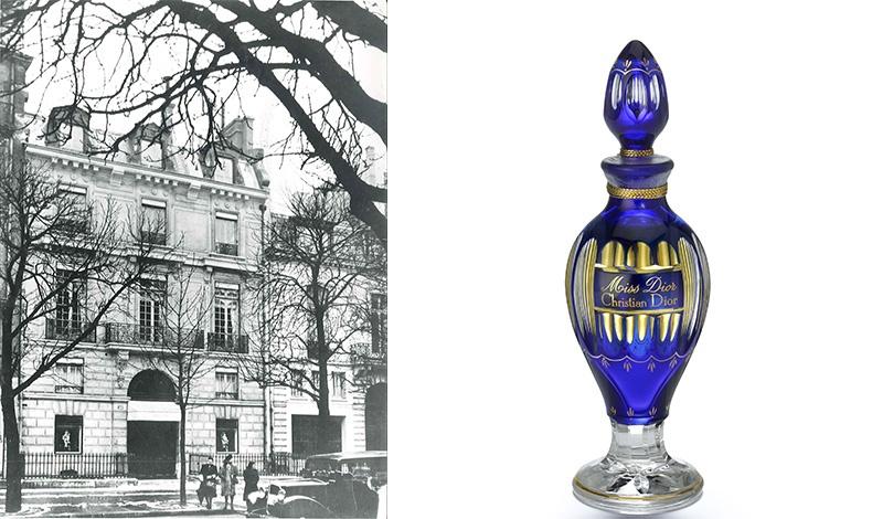 Το ατελιέ του οίκου στην Avenue Montaigne, στο Παρίσι το 1947, Dior He?ritage collection, Παρίσι // Το άρωμα Miss Dior σε περιορισμένη έκδοση, σε μπλε κρύσταλλο Baccarat από το 1947, Parfums Christian Dior