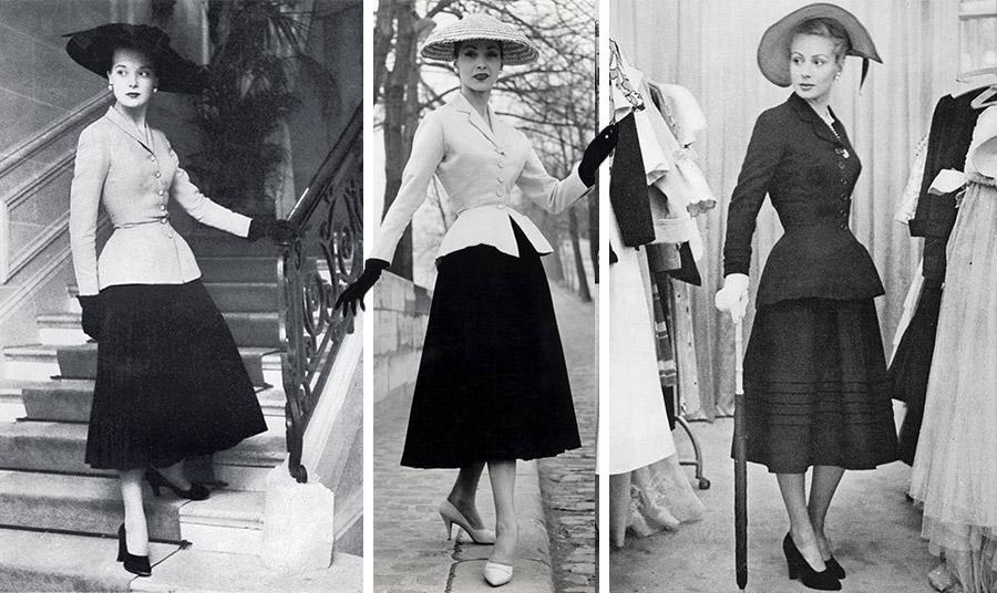 Το πρώτο σακάκι Bar συνδυάστηκε με μία πλούσια φούστα  και ξεχωρίζει για την ανυπέρβλητη θηλυκότητά του
