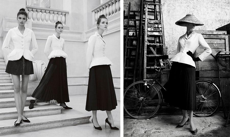 """Το αριστοτεχνικό σακάκι """"Bar"""" του Christian σε φωτογράφηση της Emma Summerton για την έκθεση """"Christian Dior, Couturier du Rêve"""" στο Musée des Arts Décoratifs, 2017 (από αριστερά): John Galliano, Maria Grazia Chiuri και Christian Dior // Η αυθεντική έκδοση του Βar suit φωτογραφημένη για το βιβλίο αφιέρωμα στον μεγάλο δημιουργό από τον διάσημο φωτογράφο Patric Demarchellier"""