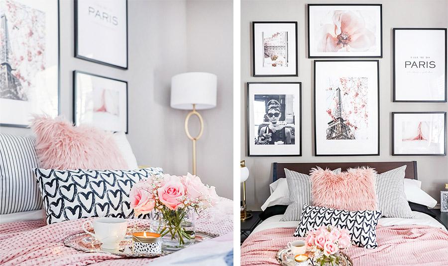 Παστέλ ροζ με λευκό, χνουδωτά μαξιλάρια και πλεκτές απαλές κουβέρτες για το στρώσιμο του κρεβατιού. Τα πόστερ με κομψή θηλυκότητα δίνουν έναν επιπλέον τόνο