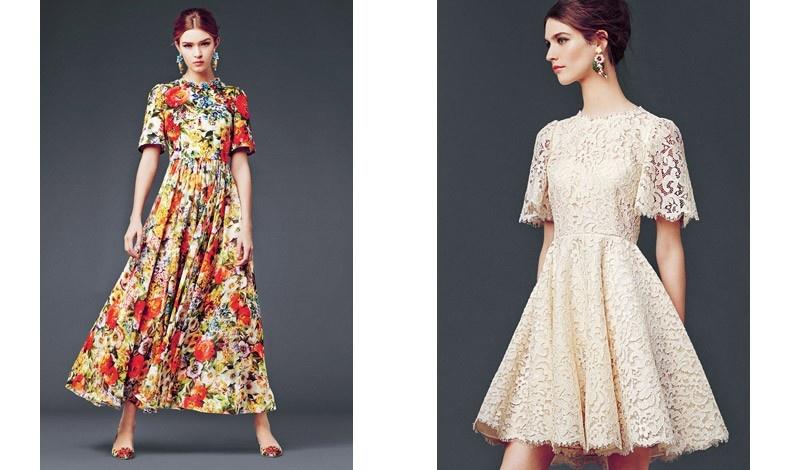 Μακρύ λουλουδάτο φόρεμα και κοντό φόρεμα με δαντέλα από τη χειμωνιάτικη συλλογή DOLCE & GABBANA
