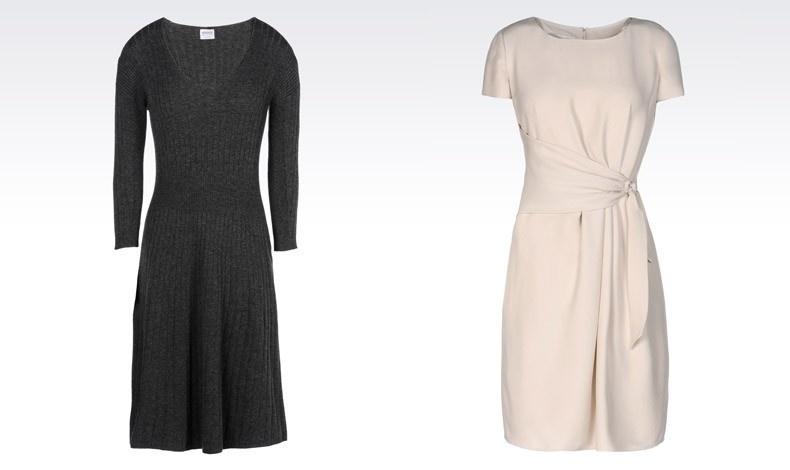 Πλεκτό φόρεμα σε σκούρο γκρι και κρεμ κομψό φόρεμα με κοντά μανίκια από τη φετινή συλλογή ΑRMANI